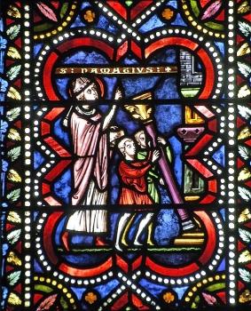 saint Namace et la première cathédrale, vitrail du XIXe, cathédrale de Clermont