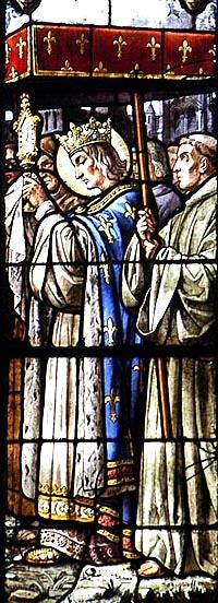 saint Louis donnant des reliques de la Passion à la cathédrale de Clermont, vitrail du XIXe