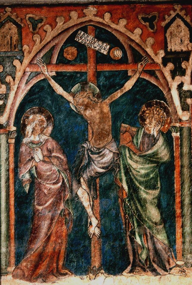 Cathédrale de Clermont ; peinture-crucifixion