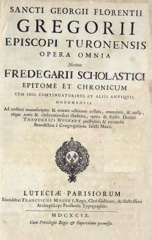 Oeuvre de Grégoire de Tours, éd de 1699, Bibliothèque diocésaine de Clermont