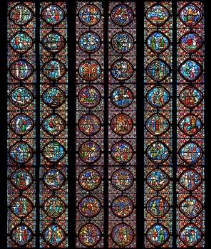 Verrière Saint-Jean-Baptiste, photomontage Henri Hours, cathédrale de Clermont