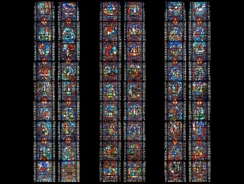 Verrière Saint-Austremoine, cathédrale de Clermont, photomontage Henri Hours