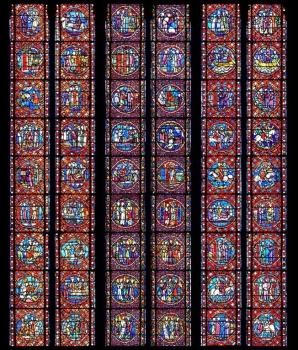 Verrière de la chapelle Saint-Bonnet, photomontage Henri Hours, cathédrale de Clermont