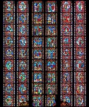 Verrière de Sainte-Marie-Madeleine, cathédrale de Clermont, photomontage Henri Hours