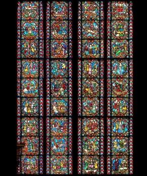 Verrière Sainte-Foy et Sainte-Marguerite, photomontage Henri Hours, cathédrale de Clermont