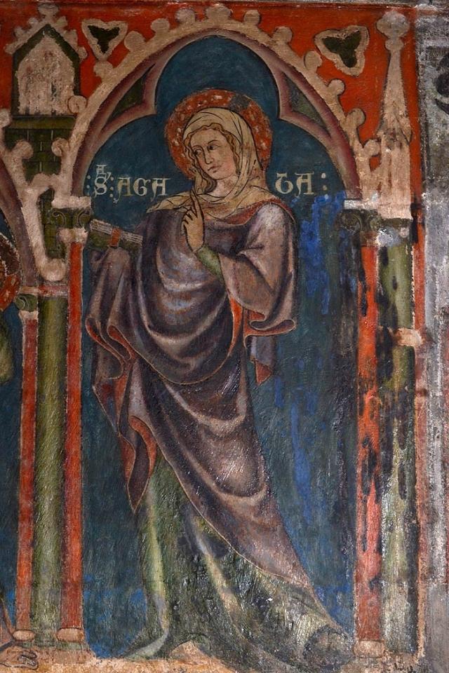 Cathédrale de Clermont : peinture sainte Agathe