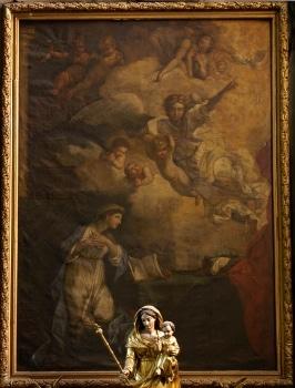 Cathédrale de Clermont, tableau de Sébastien Bourdon, retable des Ursulines, Annonciation