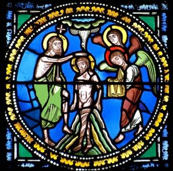 Médaillon roman représentant le baptême du Christ