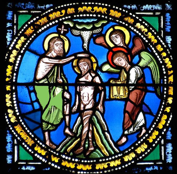 Baptême du Christ, médaillon roman, cathédrale de Clermont