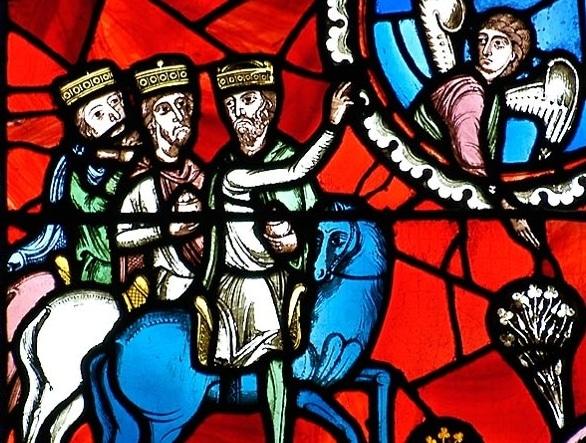 vitrail roman de la cathédrale de Clermont : les rois mages guidés par l'Etoile