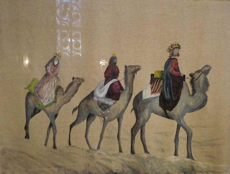 Les Rois mages, parcours de Noël 2016, cathédrale de Clermont, toile peinte par Katya Winsback