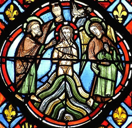 médaillon gothique cathédrale de Clermont, baptême du Christ