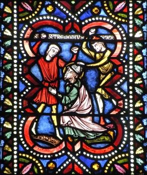 Vitrail de Gaudin, XIXe, martyre de saint Austremoine, cathédrale de Clermont