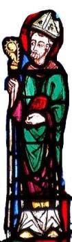 Eveque, cathédrale de Clermont, vitrail