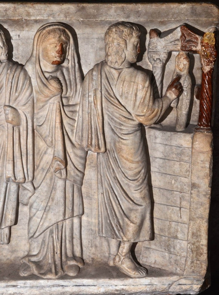 Résurrection de Lazare, sarcophage, cathédrale de Clermont