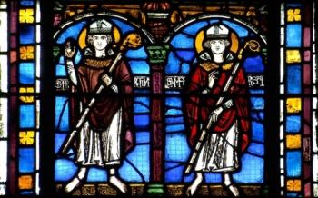 Saints Martin et Martial, vitrail XIIIe, cathédrale de Clermont