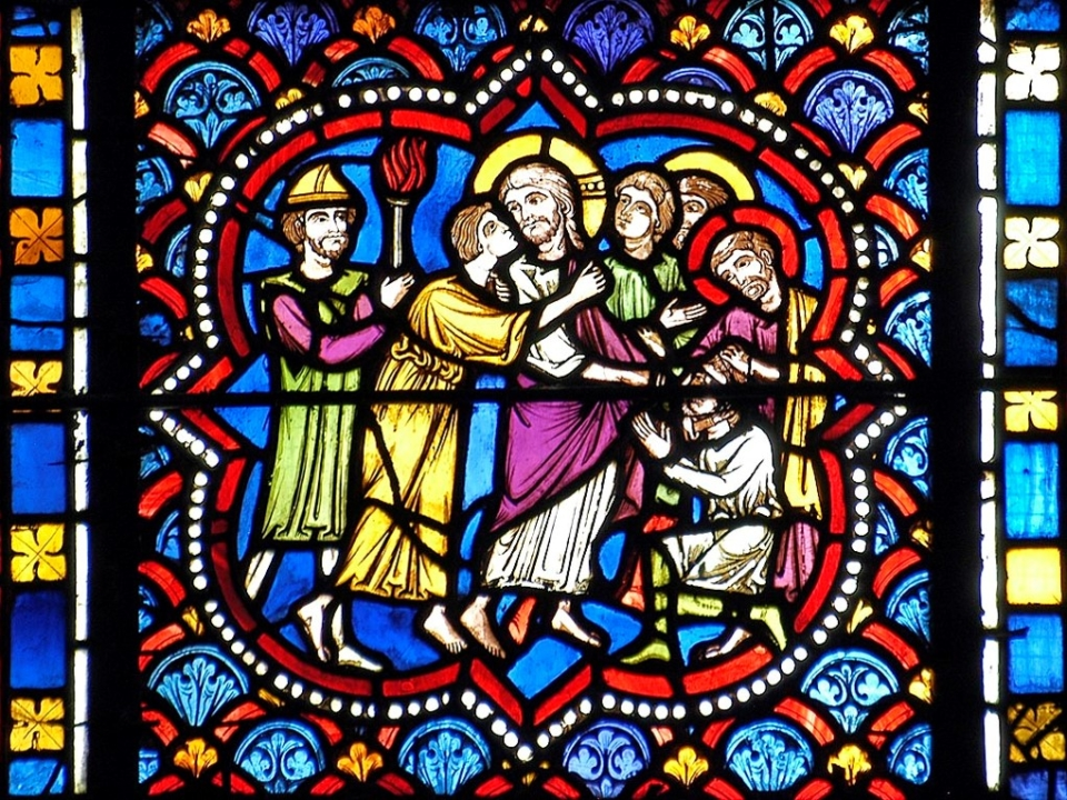 baiser de Judas, cathédrale de Clermont, médaillon XIIIe