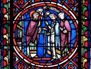 Saint Bonnet quittant sa charge d'évêque, cathédrale de Clermont