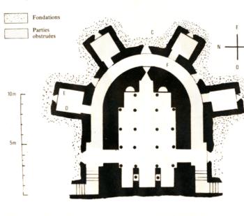Plan de la crypte de la cathédrale de Clermont