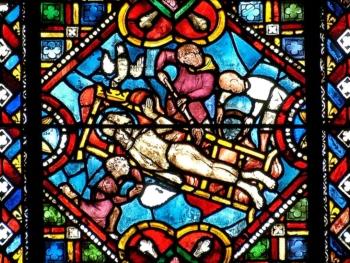 Le martyr de sainte Foy, cathédrale de Clermont, médaillon gothique
