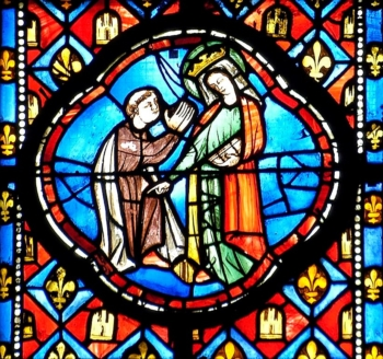 Médaillon XIIIe cathédrale de Clermont, le miracle de Théophile