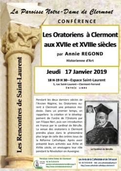 Rencontres de Saint-Laurent, 17 janvier 2019, Les oratoriens à Clermont, par Annie Regond