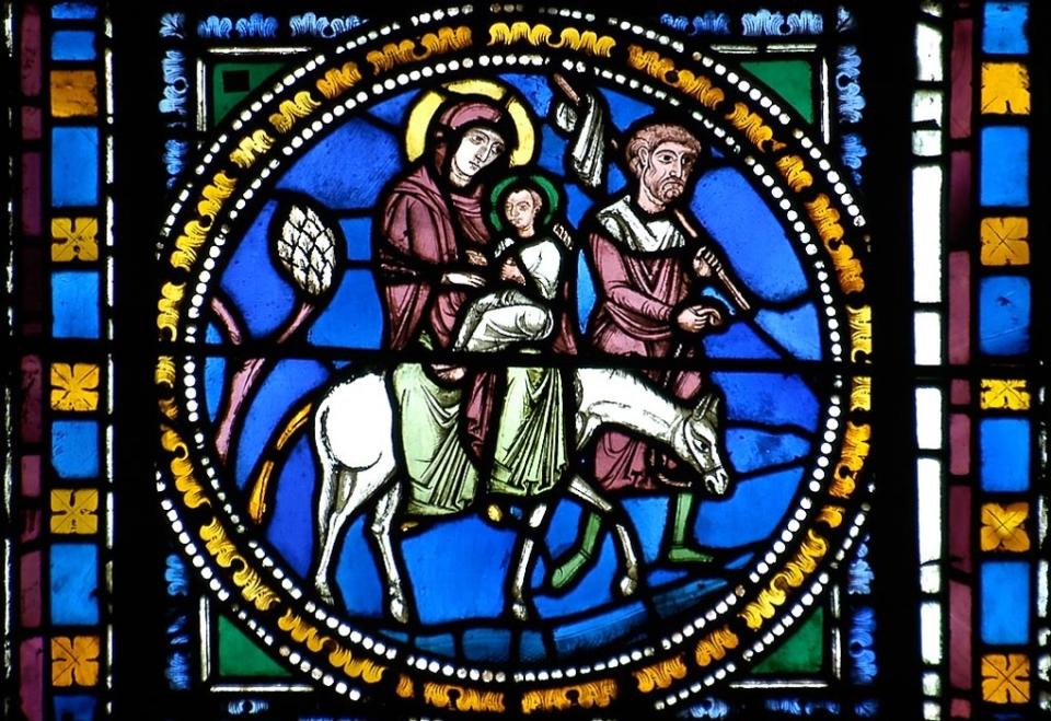 Fuite en Egypte, vitrail roma, cathédrale de Clermont