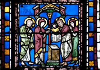 Présentation au Temple, vitrail roman, cathédrale de Clermont