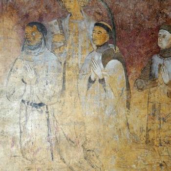 Ennezat, fresque gothique, les donateurs