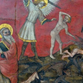 Ennezat, le Jugement dernier, saint Michel expulse les damnés
