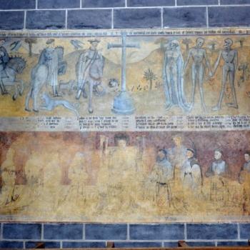 Ennezat, fresque gothique, le lai de s trois morts et des trois vifs, et les donateurs