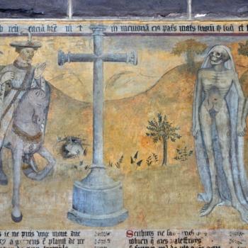 """Ennezat, fresque gothique, rencontre des """"vif""""s et des """"morts"""""""