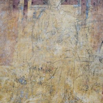 Ennezat, fresque gothique, la Vierge qu'implorent les donateurs