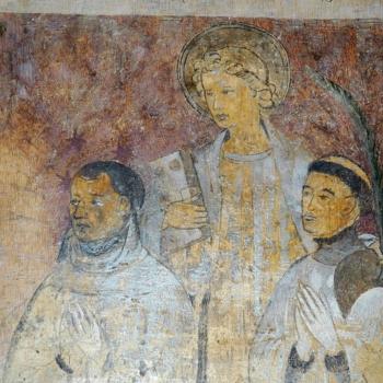 Ennezat, fresque gothique, la famille de Bassinhac