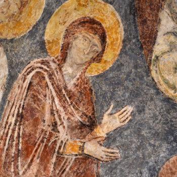Glaine-Montaigut, détail de la Deisis : le Vierge Marie