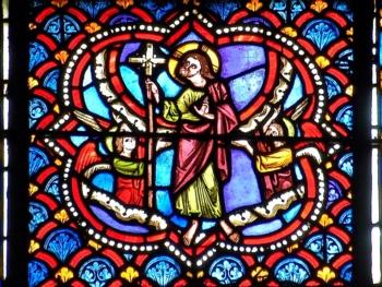 médaillon gothique, cathédrale de Clermont, l'Ascension