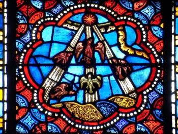 cathédrale de Clermont, médaillon gothique, typologie de l'Ascension
