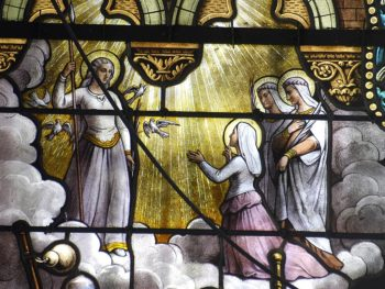 sainte George parmi d'autres saintes, vitrail de la cathédrale de Clermont, XIXe