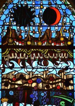 cathédrale de Clermont, vitrail d'Alain Makaraviez, l'Apocalypse : ouverture des premiers sceaux