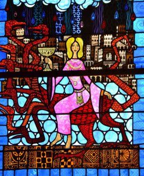 Cathédrale de Clermont, vitrail d'Alain Makaraviez, la grande prostituée