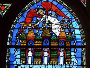 Cathédrale de Clermont, vitrail d'Alain Makaraviez, la Jérusalem céleste
