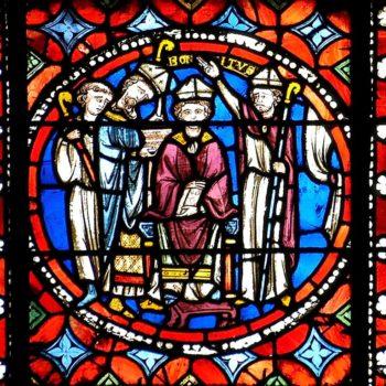 cathédrale de Clermont, médaillon XIIIe, ordination épiscopale de saint Bonnet