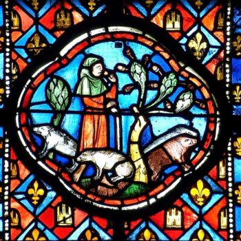 cathédrale de Clermont, médaillon XIIIe, Enfant prodigue