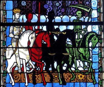 Cathédrale de Clermont, vitrail d'Alain Makaraviez, les 4 cavaliers de l'Apocalypse