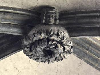 cathédrale de Clermont, clé de voûte, jeune homme